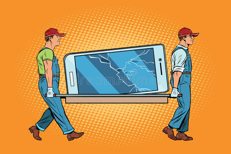 La reparación de smartphones rompió la pantalla ilustración del vector