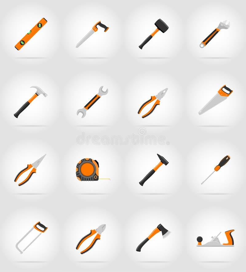 La reparación y los iconos planos de las herramientas del edificio vector el ejemplo stock de ilustración