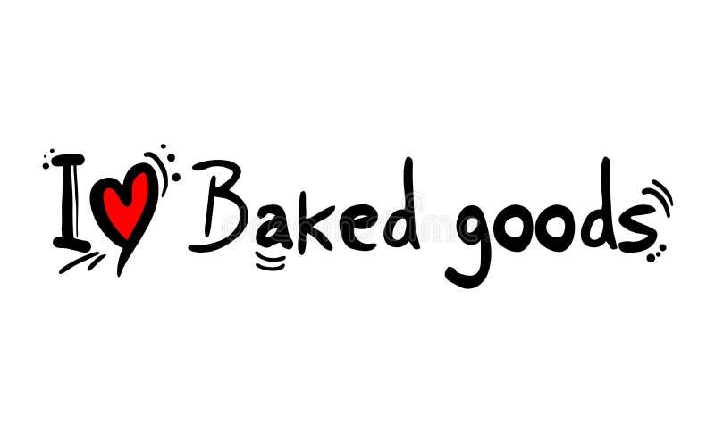 La repostería y pastelería ama el mensaje stock de ilustración
