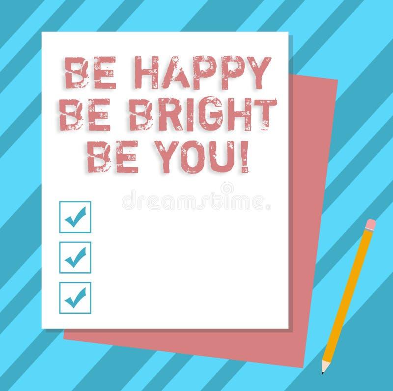 La représentation de note d'écriture soit heureuse soit lumineuse soit vous Attitude de présentation de confiance en soi de photo illustration de vecteur