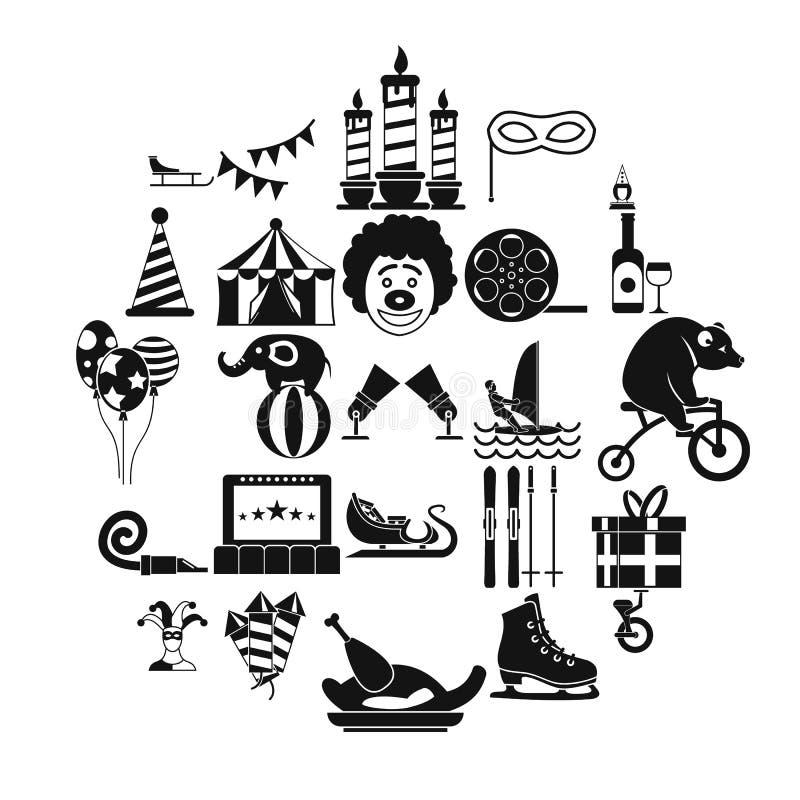 La représentation des icônes de clowns a placé, style simple illustration de vecteur