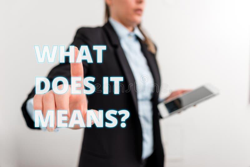 La repr?sentation conceptuelle d'?criture de main ce qui le fait signifie la question Texte de photo d'affaires interrogeant quel photos stock