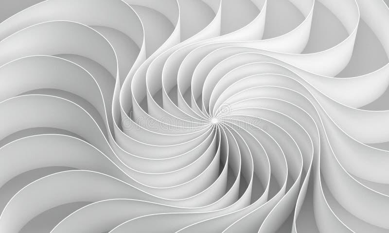 la representación 3d curvó el extracto en el fondo blanco, ejemplo stock de ilustración