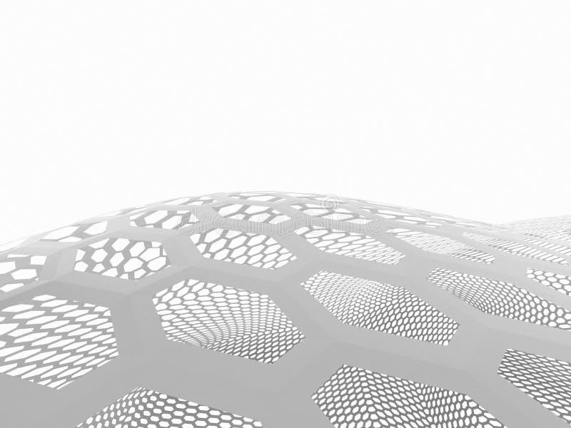 la representación 3d curvó el extracto en el fondo blanco, ejemplo libre illustration