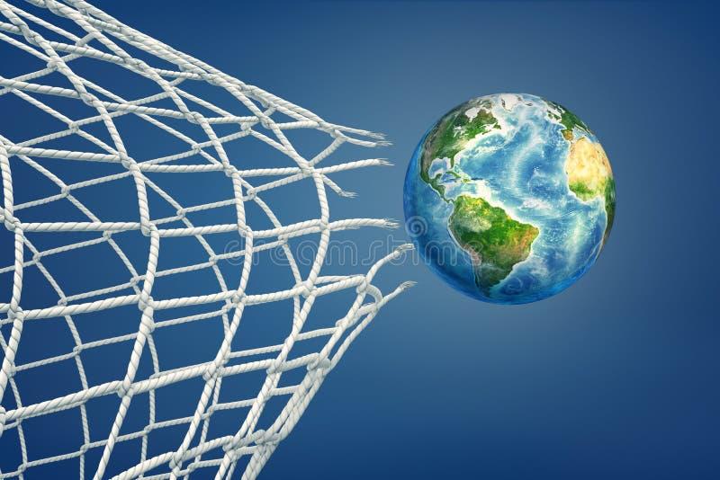 la representación 3d de la bola realista coloreada como un globo de la tierra vuela a través de una red rasgada del fútbol foto de archivo libre de regalías