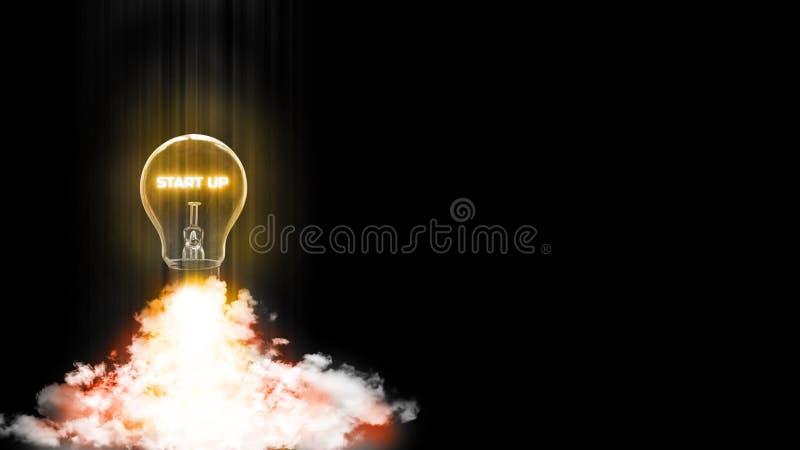 la representación 3D de la bombilla del comienzo para arriba quita de la tierra como el cohete Concepto de usar buena idea de cre libre illustration