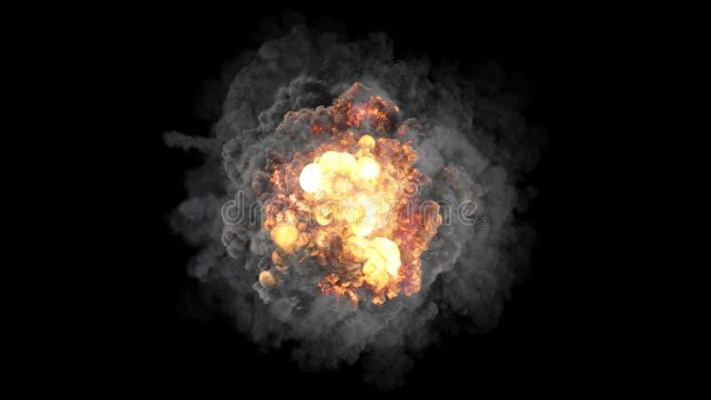 la representación 3D de explosiones coloridas voluminosas, de ondas expansivas y de clubs llenó de humo ilustración del vector