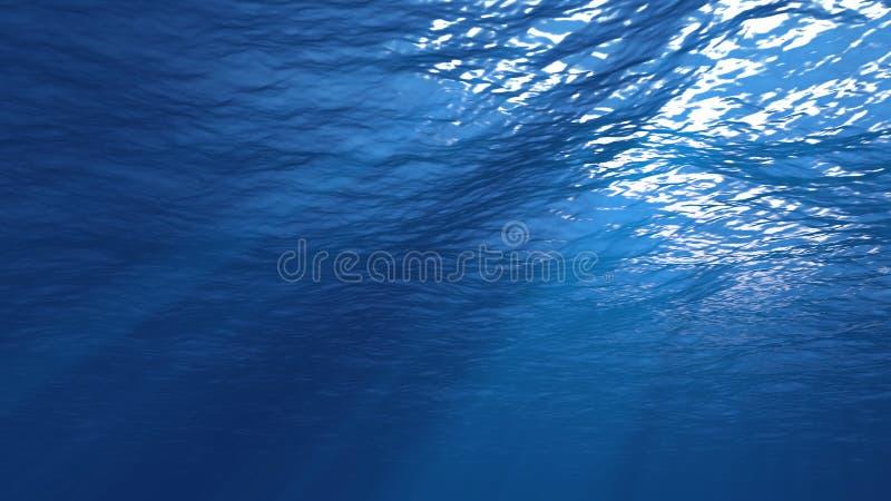 la representación 3D de la luz subacuática crea una cortina solar hermosa Las olas oceánicas subacuáticas oscilan y fluyen con lo imágenes de archivo libres de regalías