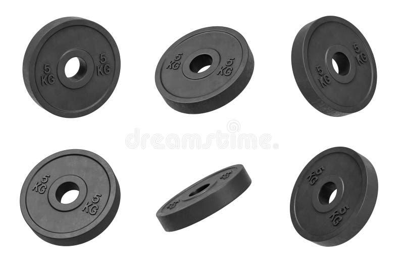 la representación 3d de muchos negro aislado barbell de 5 kilogramos carga la ejecución en un fondo blanco dado vuelta a diversos stock de ilustración