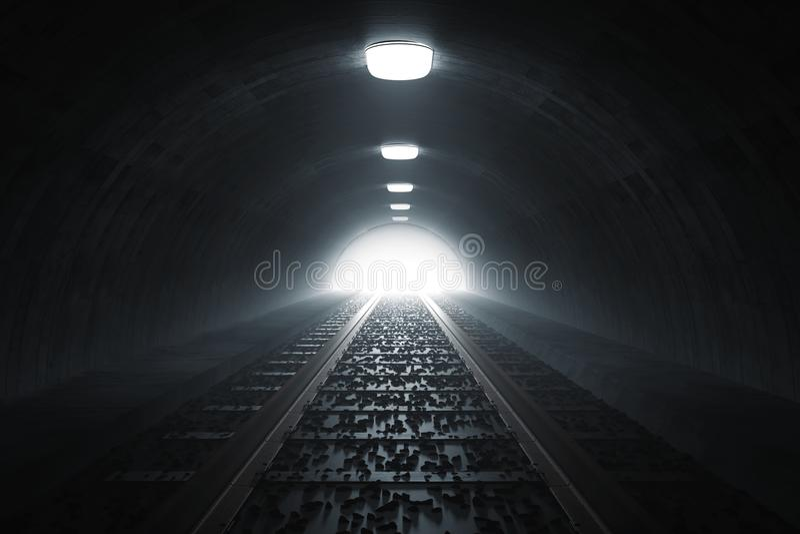 la representación 3d de oscurece el túnel del tren con la luz en el extremo libre illustration