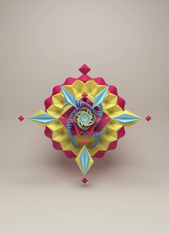 la representación 3D de la papiroflexia colorida de papel estilizada florece stock de ilustración