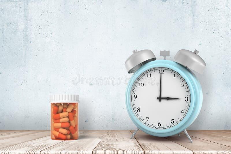 la representación 3d de un despertador azul claro y las píldoras anaranjadas sacude la situación en una tabla de madera cerca de  imagenes de archivo