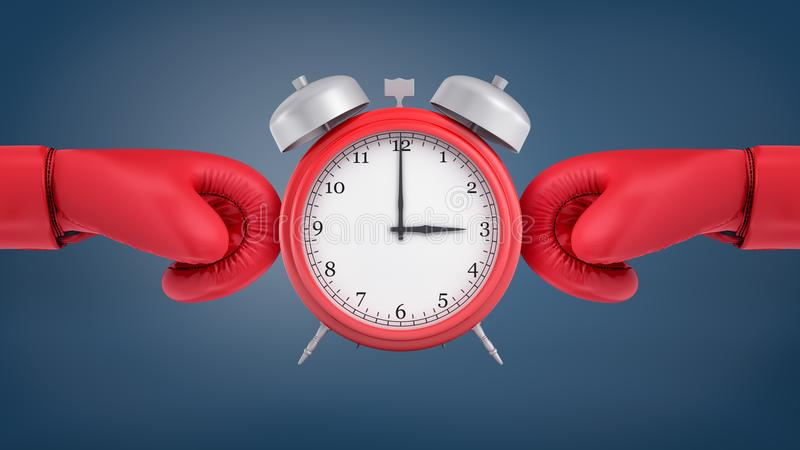 la representación 3d de un despertador retro rojo se coloca entre los guantes de boxeo rojos que lo rodean a partir de dos lados fotografía de archivo