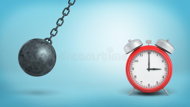 la representación 3d de un despertador rojo grande se coloca intacto en peligro del golpe por un hierro que arruina la bola imágenes de archivo libres de regalías