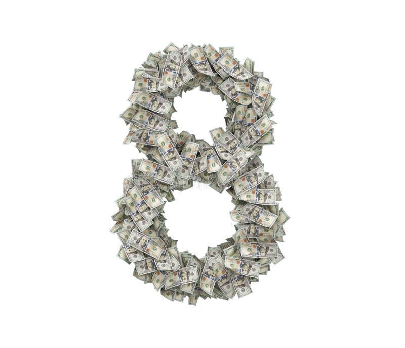la representación 3d de un gran número 8 hizo de muchos USD cientos cuentas en un fondo blanco stock de ilustración