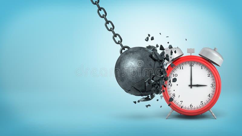 la representación 3d de un hierro negro grande que arruina la bola se rompe al golpear un despertador rojo grande imágenes de archivo libres de regalías