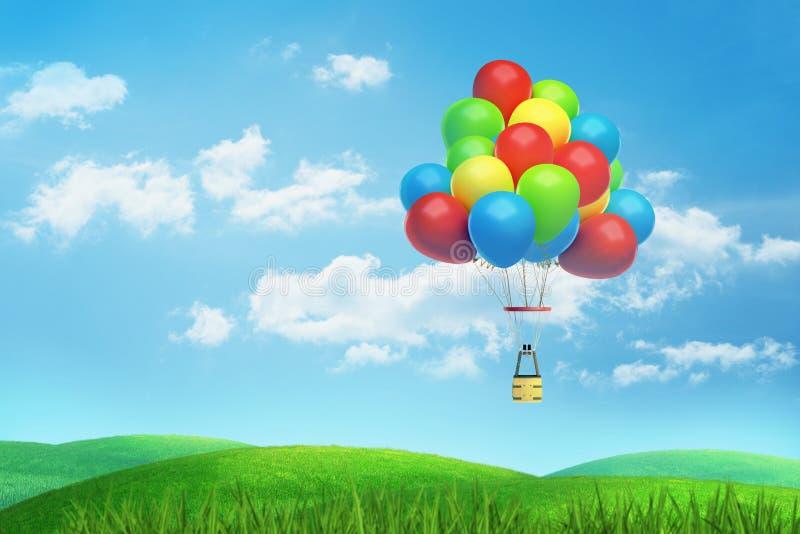 la representación 3d de un mucho colorido hincha en parte con una cesta por debajo mosca sobre un valle verde y soleado stock de ilustración