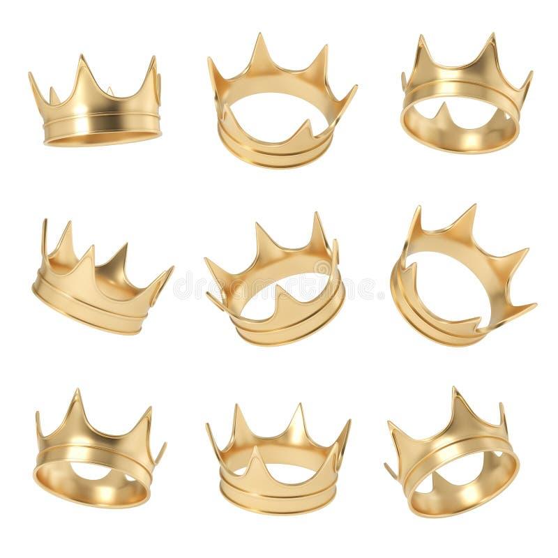 la representación 3d de un sistema compuso de varias coronas de oro que colgaban en un fondo blanco en diversos ángulos stock de ilustración