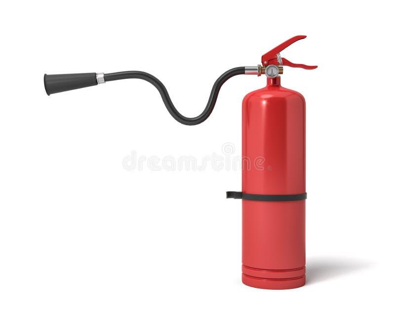 la representación 3d de un solo extintor rojo con su manguera levantó para arriba la boca señaló derecho ilustración del vector