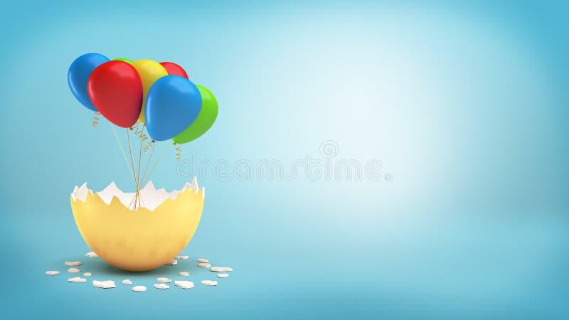 la representación 3d de una cáscara de huevo de oro grande se agrietó para revelar un paquete de globos coloridos en una cinta imagen de archivo libre de regalías