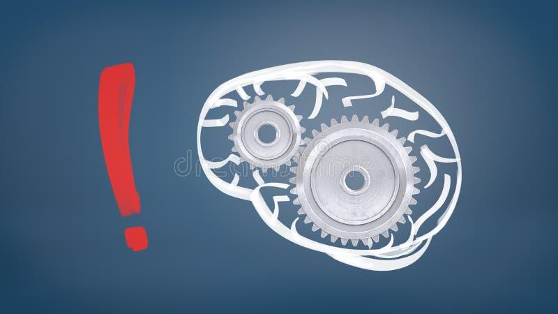 la representación 3d de una marca de exclamación roja grande se coloca en un fondo azul cerca de un dibujo de un cerebro humano c stock de ilustración