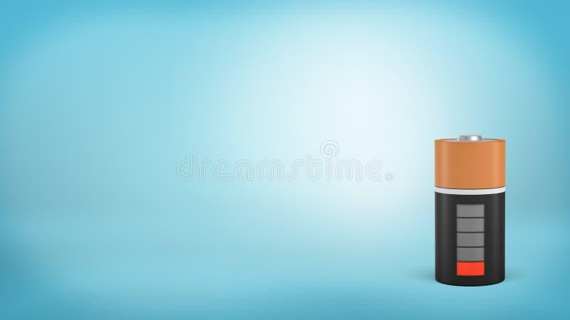 la representación 3d de una sola batería anaranjada y negra grande con un indicador de carga rojo bajo se coloca en un fondo azul stock de ilustración