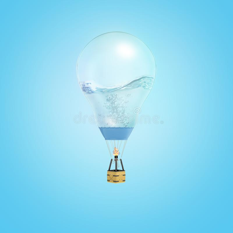 la representaci?n 3d del globo del aire caliente con el globo hizo de una bombilla medio lleno con el l?quido en fondo azul libre illustration