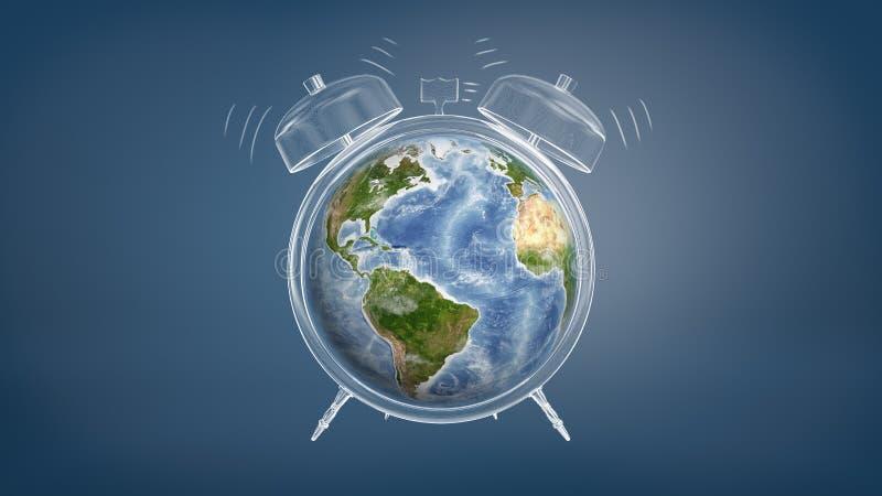 la representación 3d del globo colorido de la tierra utilizó una cara de reloj de un despertador de sonido dibujado tiza ilustración del vector