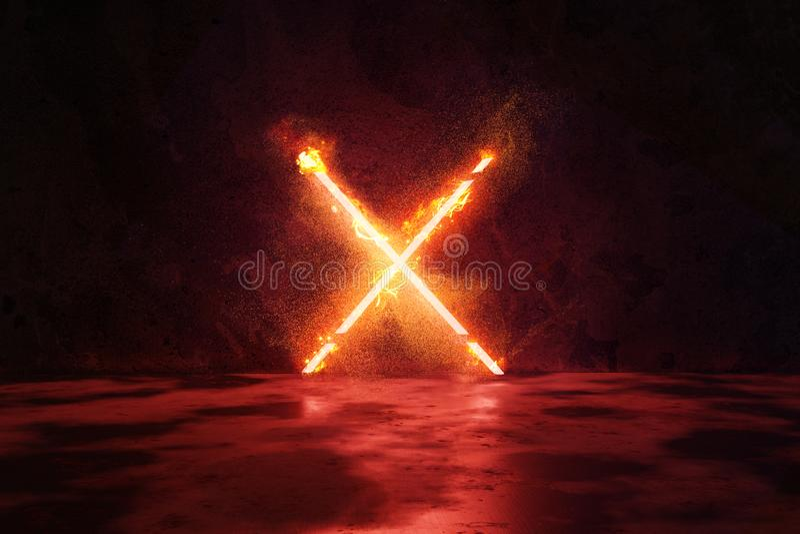 la representaci?n 3d del rojo aligera forma del alfabeto X en fuego contra fondo de la pared del grunge ilustración del vector
