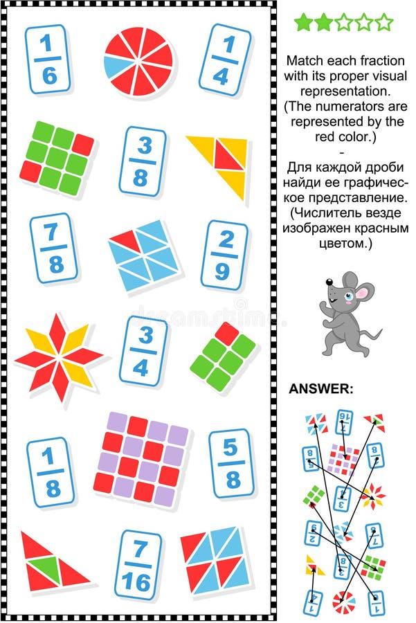 La representación visual fracciona rompecabezas educativo de la matemáticas ilustración del vector