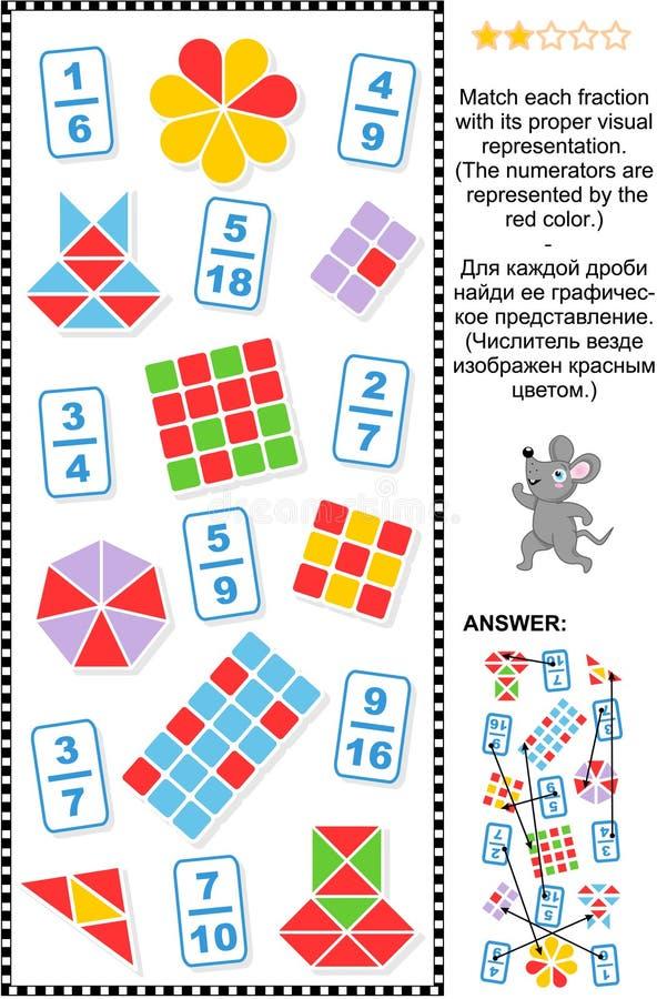 La representación visual fracciona rompecabezas educativo de la matemáticas libre illustration
