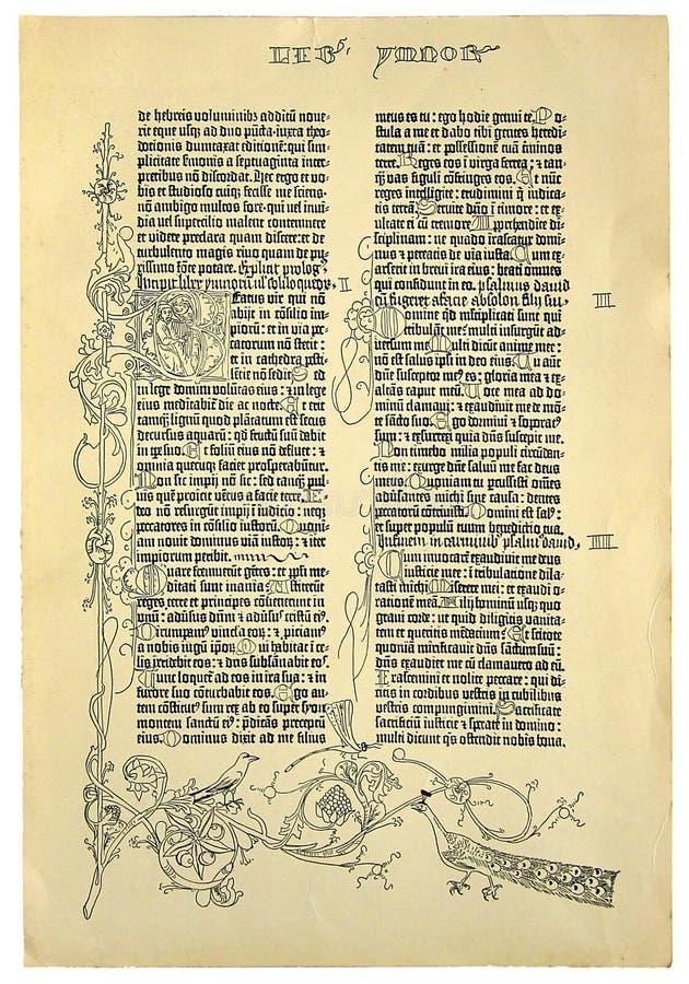 La reproduction d'une page de la première a imprimé la bible image libre de droits