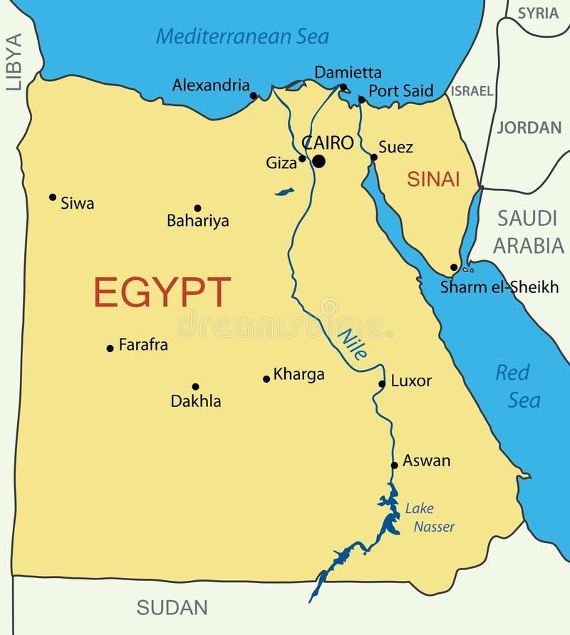 La Repubblica Araba d'Egitto - mappa illustrazione di stock