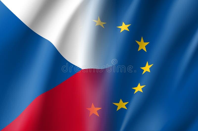 La repubblica Ceca di simbolo è membro di UE illustrazione vettoriale