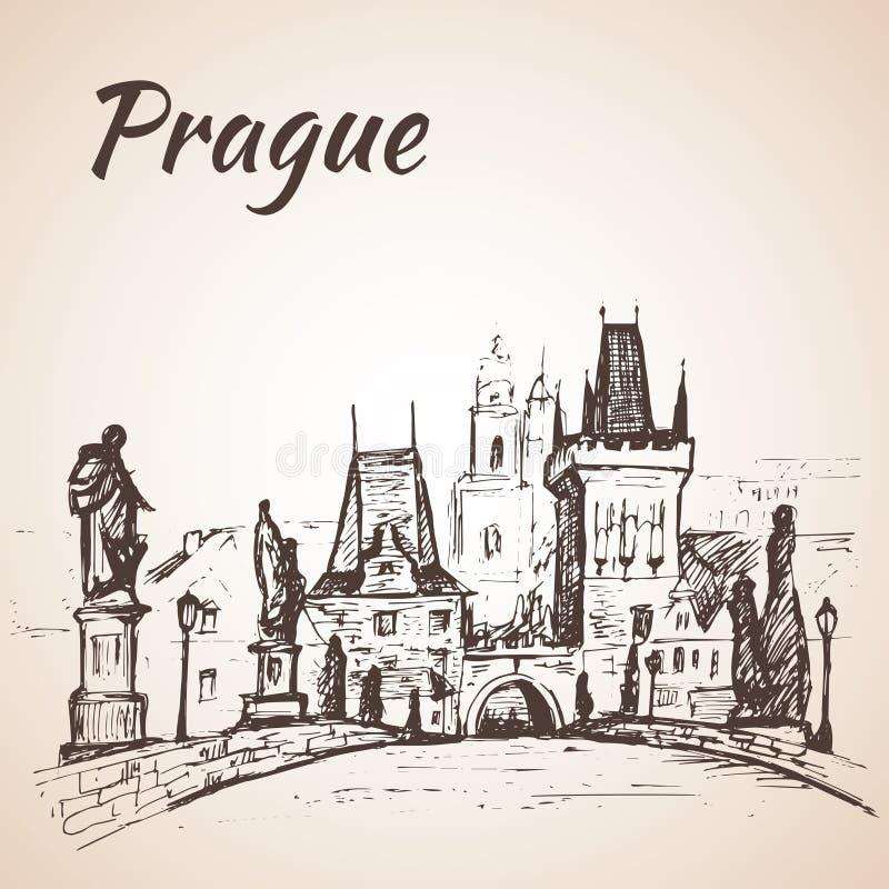 La repubblica Ceca - ponte di Charles illustrazione vettoriale