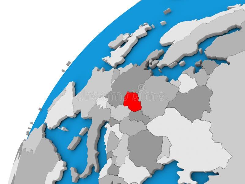 La repubblica Ceca sul globo nel rosso royalty illustrazione gratis