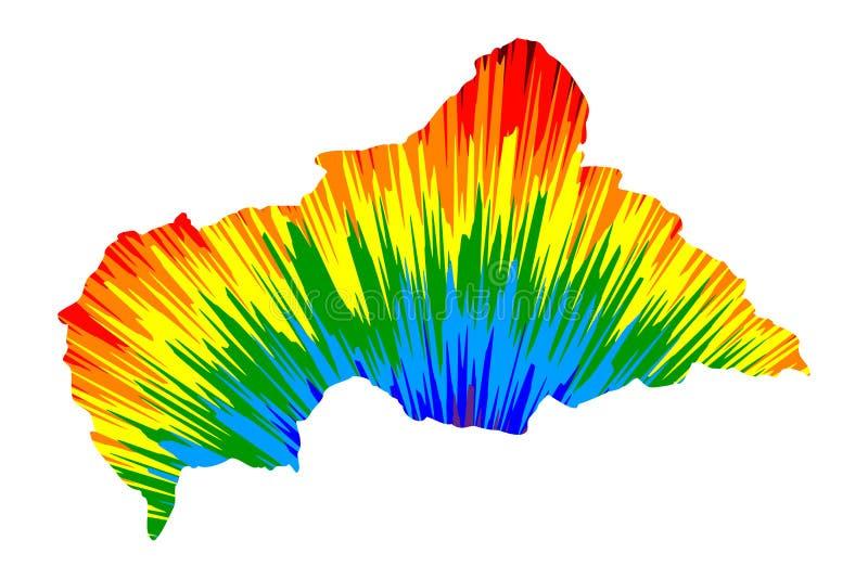 La Repubblica centroafricana - la mappa è modello variopinto progettato dell'estratto dell'arcobaleno, mappa dell'AUTOMOBILE dell illustrazione vettoriale