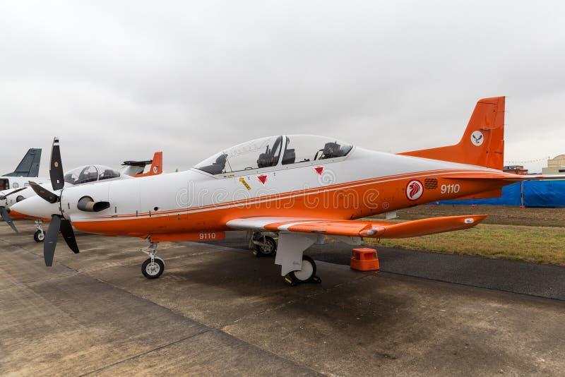 La Repubblica dell'aeronautica RSAF Pilatus PC-21 di Singapore ha avanzato gli aerei di addestramento militare basati a RAAF Pear fotografie stock