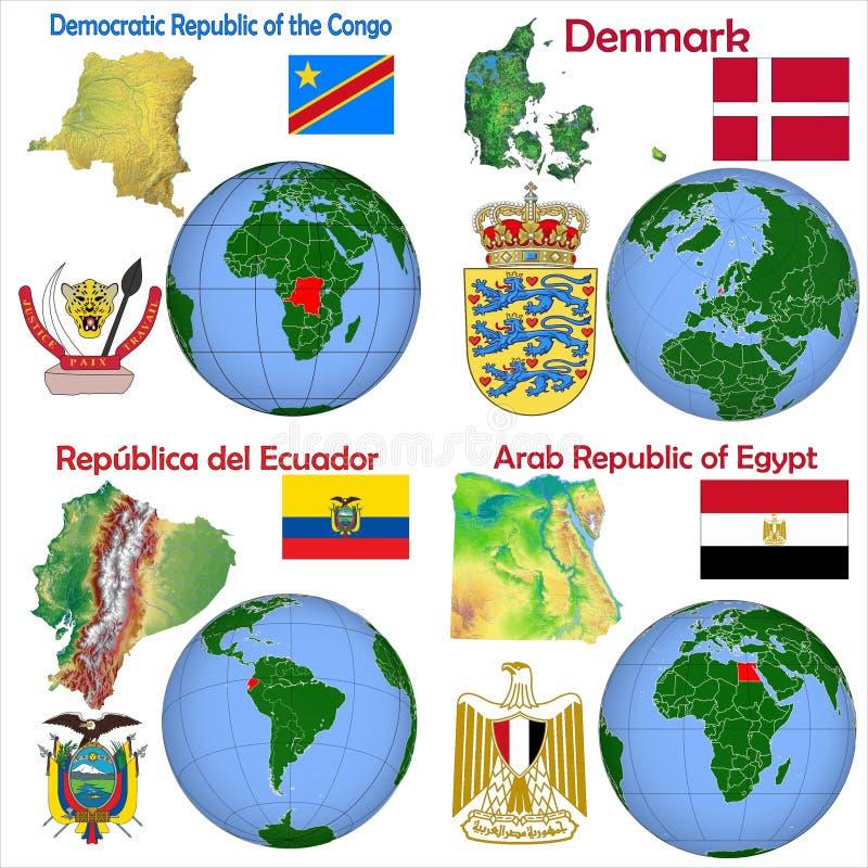 La repubblica democratica Congo, Danimarca, Ecuador, Egitto di posizione illustrazione di stock