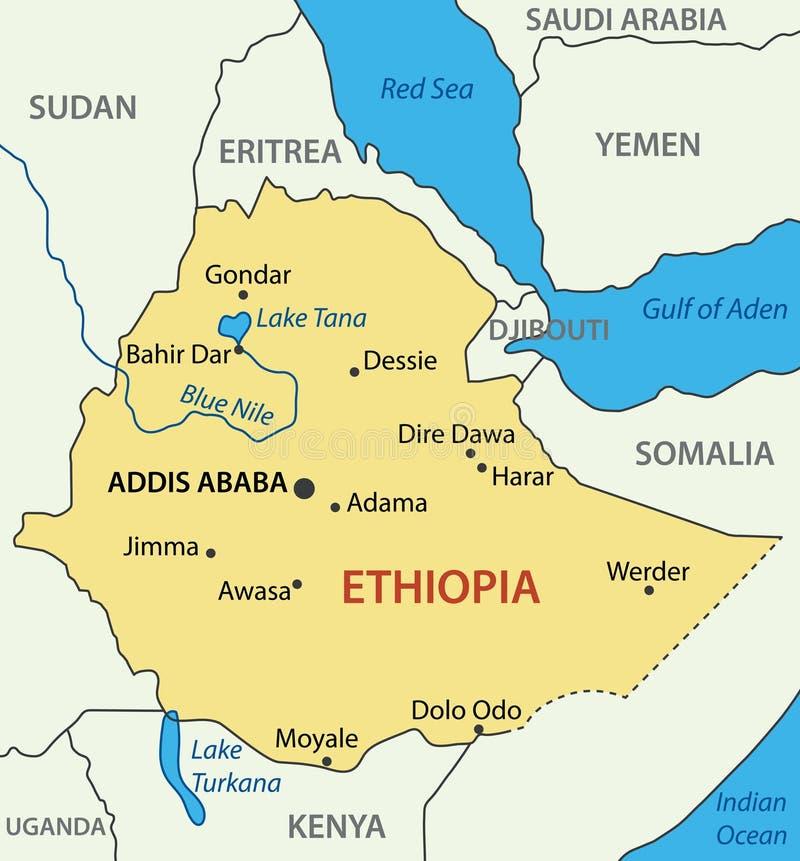 La repubblica federale democratica d'Etiopia - mappa illustrazione vettoriale