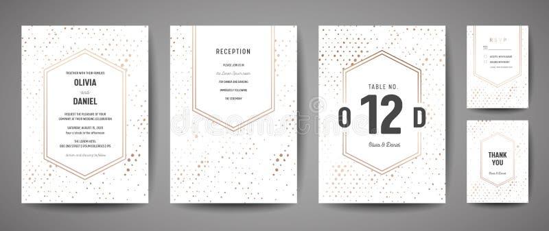 La reserva de lujo de la boda la fecha, colección de las tarjetas de la invitación con los lunares de la hoja de oro y logotipo d ilustración del vector