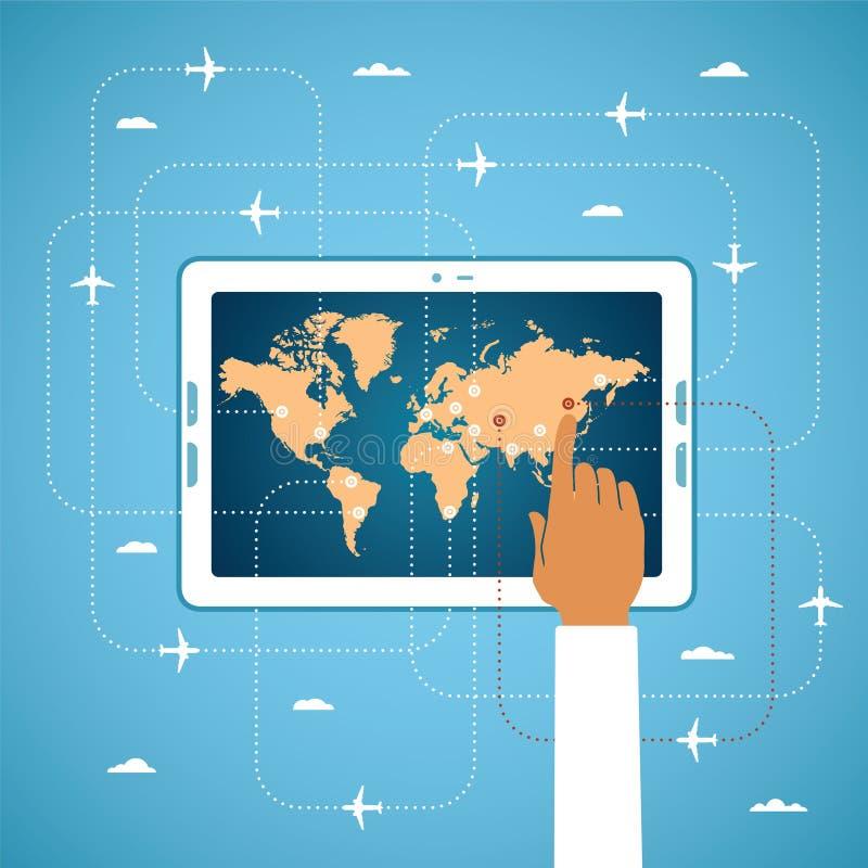 La reservación en línea del billete de avión y el viaje global vector concepto libre illustration