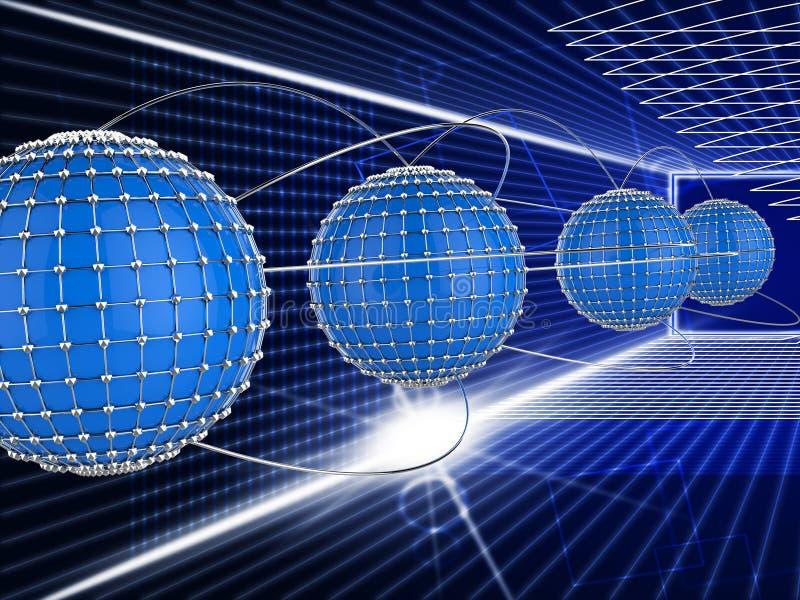La rete collegata significa le comunicazioni globali e Communica illustrazione vettoriale