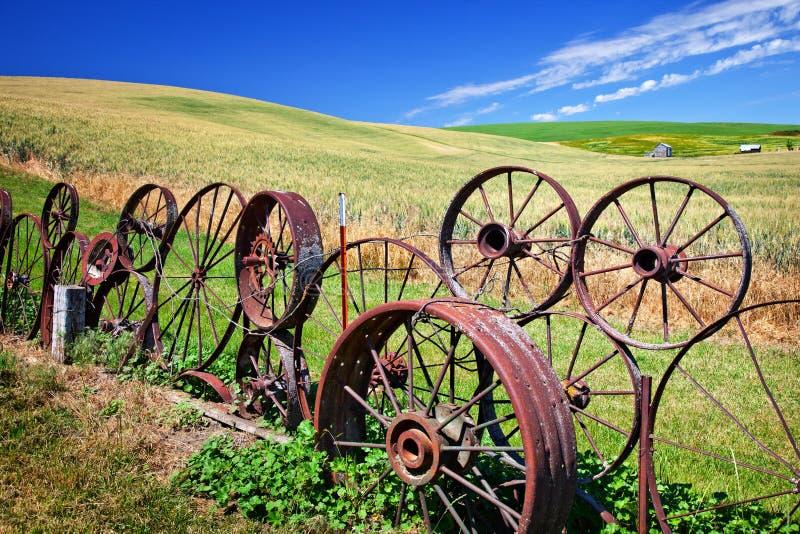La rete fissa d'acciaio della rotella sistema Palouse Washington fotografia stock
