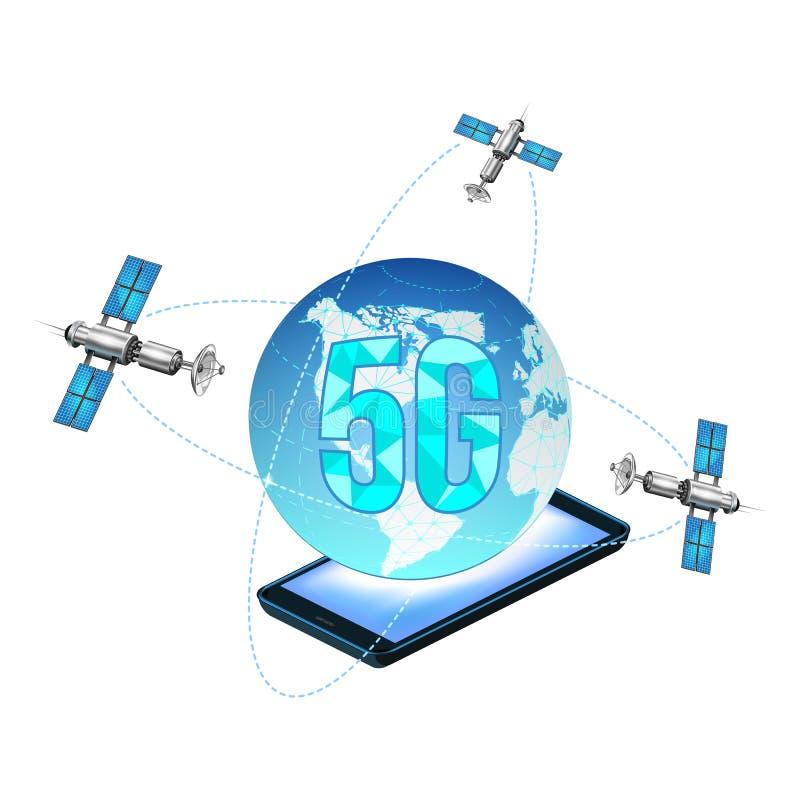 la rete 5g collega i satelliti intorno alla terra Il web globale di concetto dell'estratto si collega e comunicazioni in un telef illustrazione vettoriale