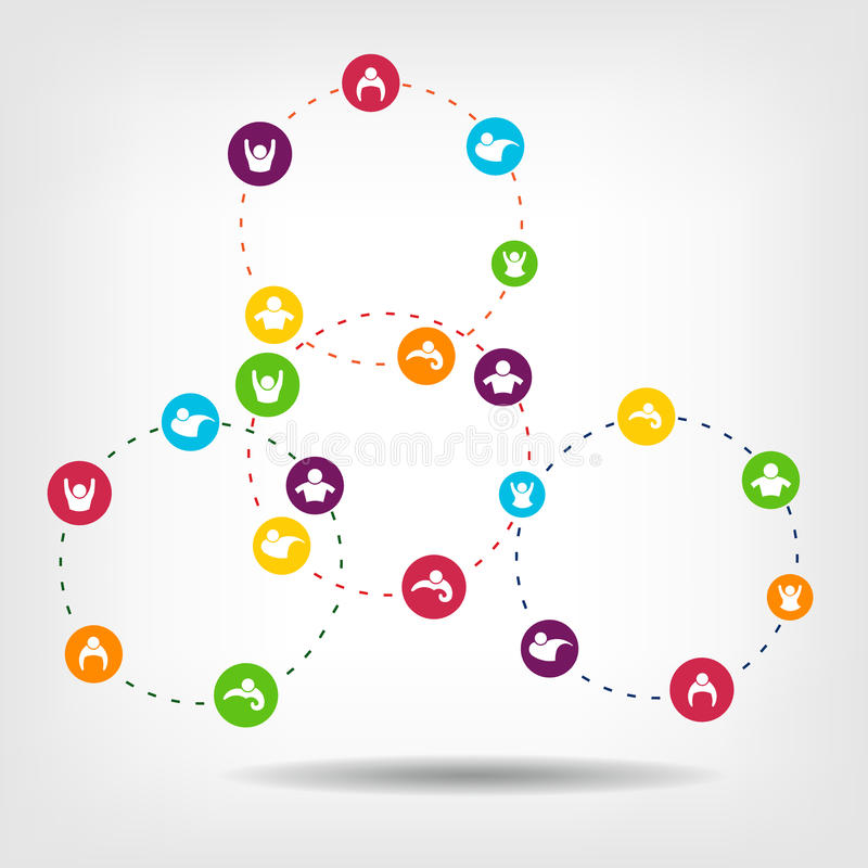 La rete sociale circonda il vettore per essere uso in infogra illustrazione di stock