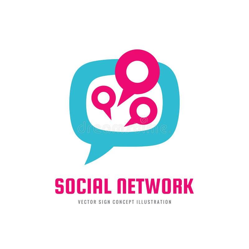 La rete sociale di media - vector l'illustrazione di concetto del modello di logo Segno astratto creativo di comunicazione del me illustrazione vettoriale