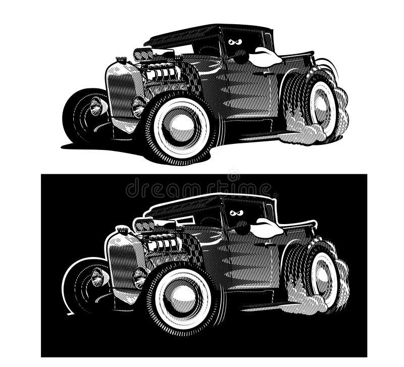 La retro barretta calda del fumetto ha isolato in bianco e nero illustrazione vettoriale