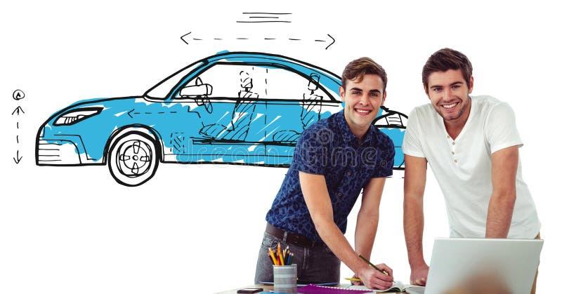 La reunión creativa del diseño con el bosquejo de coches da el dibujo fotografía de archivo libre de regalías