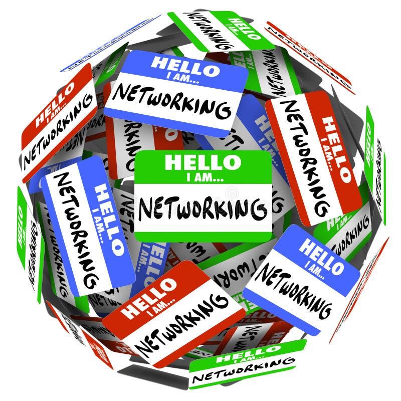La reunión de la esfera de la bola de la etiqueta engomada de la etiqueta del nombre del establecimiento de una red saluda nuevo O ilustración del vector